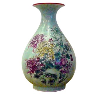 Chinese Light Blue Floral Scenery Porcelain Vase