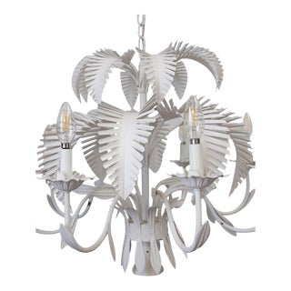 1960's Palm Beach Style Palm Frond Chandelier