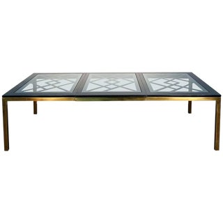 Mastercraft Style Brass & Black Lacquered Dining Table