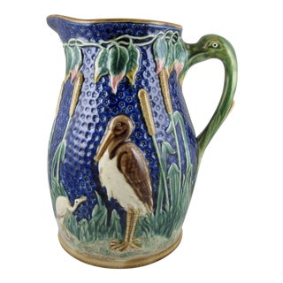Monumental Majolica Crane & Cattail Ewer