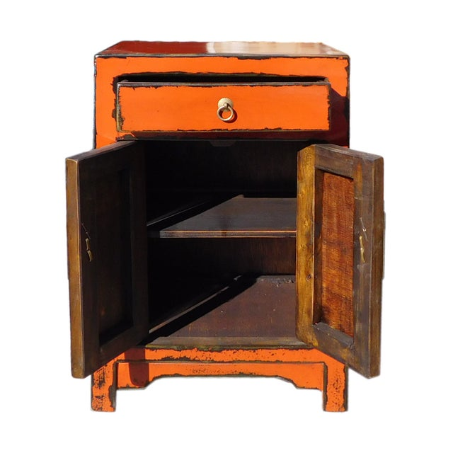 Oriental Orange Moon Face End Table Nightstand - Image 4 of 5