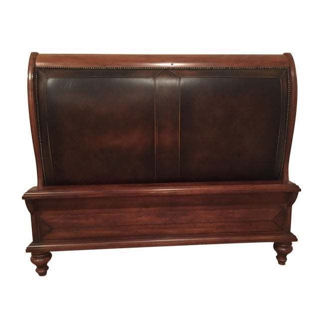 Image of Harden Leather Upholstered Queen Sleigh Bed