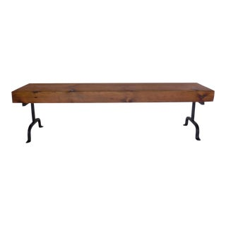 Custom Rustic Wood and Iron Bench