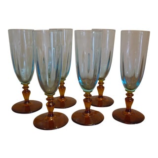 Blue & Amber Flute Glasses - Set of 6
