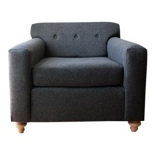 Gray Wool Box Club Chair