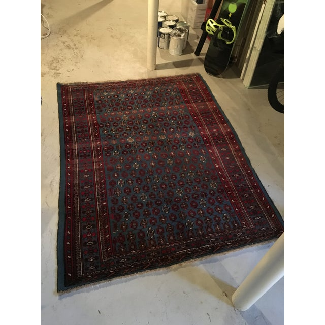 """Antique Blue/Red Persian Tribal Rug - 4'8"""" X 6'5"""" - Image 2 of 9"""