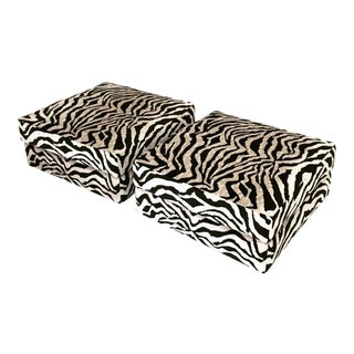 Square Ottomans in Zebra - A Pair