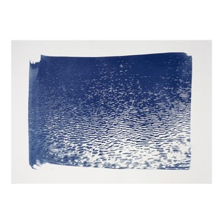Blue Lake Ripples Cyanotype Print on Watercolor Paper