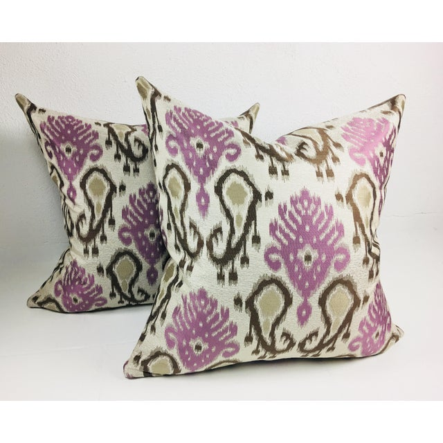 Modern Paisley Brocaded Pillows - a Pair - Image 4 of 4