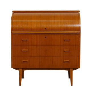 Danish Modern Roll Top Locking Desk/Dresser