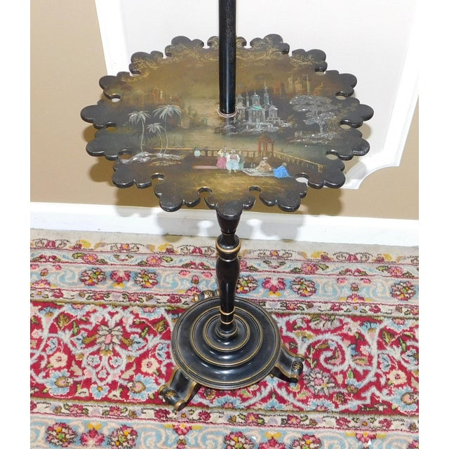1930s Victorian Papier Mache Mother of Pearl Inlaid & Hand Painted Floor Lamp - Image 3 of 11