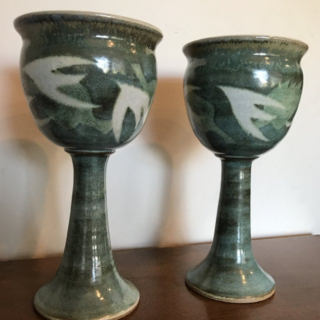 Blue & Green Ceramic Goblets - A Pair - Image 5 of 9