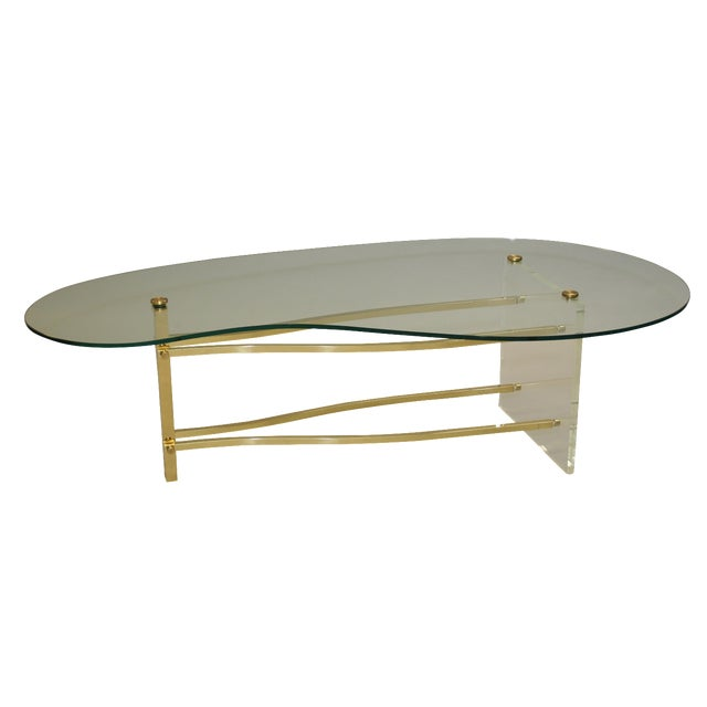 Charles hollis jones lucite brass coffee table chairish for Lucite and brass coffee table