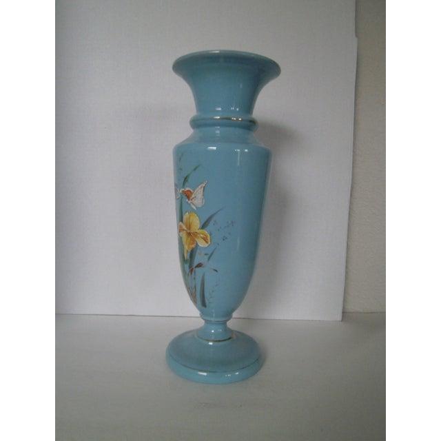 Large Robins Egg Blue Bristol Glass Vase - Image 5 of 7