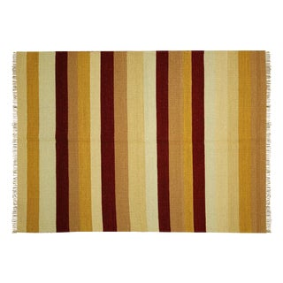 "Multi-Color Striped Kilim Rug - 4'7"" x 6'7"""