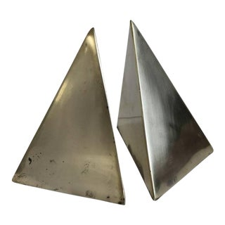 Mid-Century Brass Pyramid Bookends