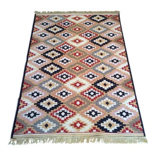 Reversible Colorful Kilim Rug - 3′11″ × 5′11″