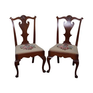 Queen Anne Hand Crafted Solid Walnut Side Chairs - A Pair