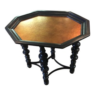 Octagon Side Table With Hammered Top