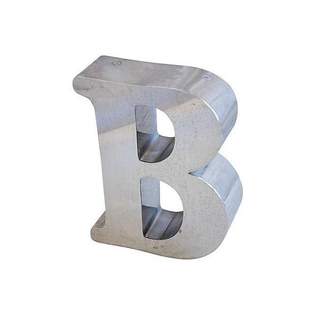 Image of Industrial 1970s Stainless Steel Marquee Letter B