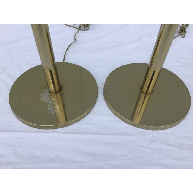 Laurel Brass Torchiere Floor Lamps - A Pair - Image 8 of 10