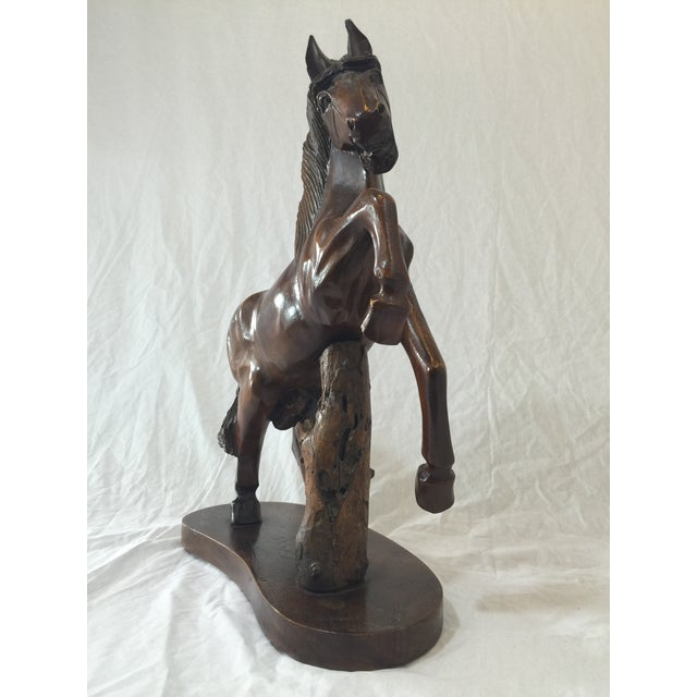 Carved Wooden Horse on Wood Stand - Image 4 of 10