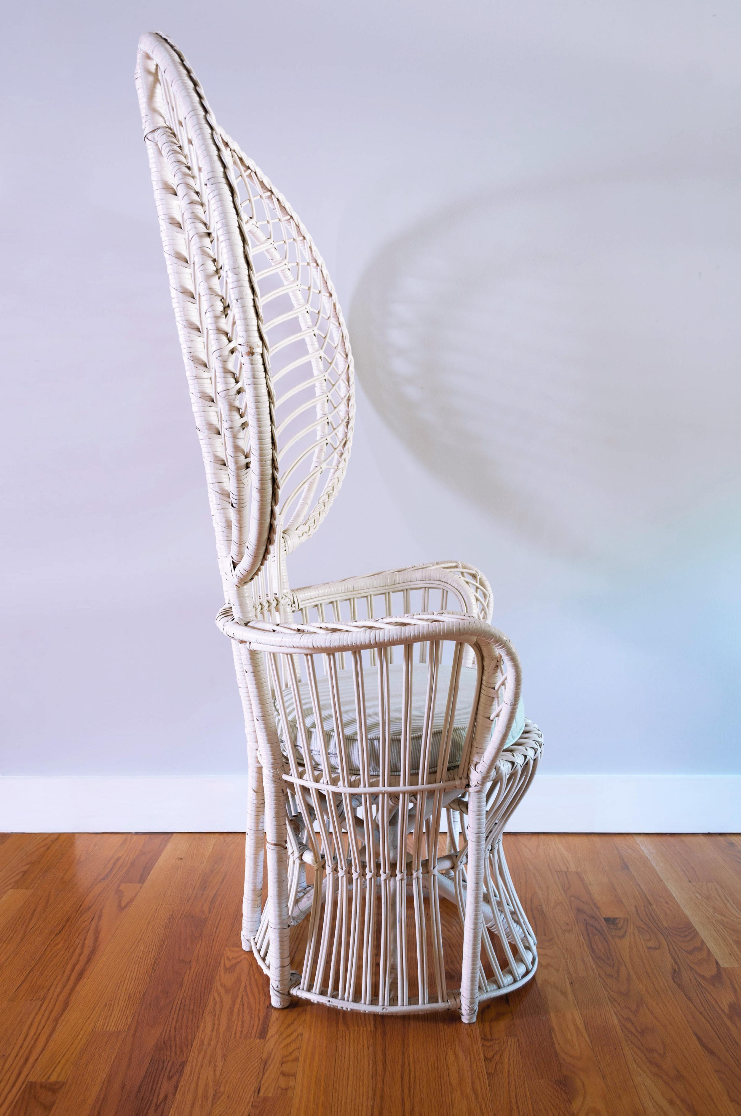 Vintage White Rattan Peacock Chair U0026 Cushion   Image 5 Of 11