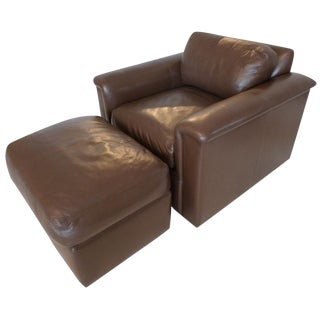 "J. Robert Scott Leather ""Barclay"" Chair & Ottoman"
