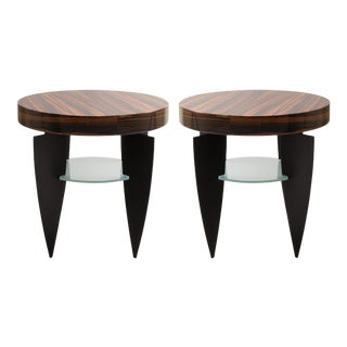 Memphis Style Zebrawood, Glass and Steel Side Tables by Pace - A Pair