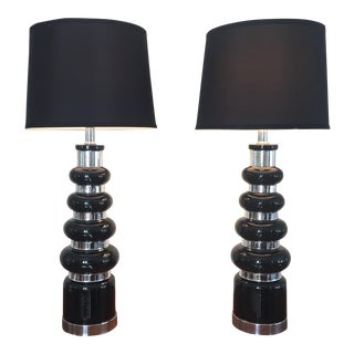 Mid-Century Modern Black Silver Decorative Lamps - A Pair