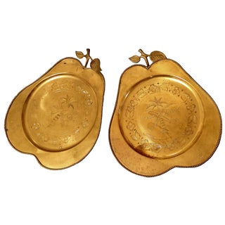 Vintage Brass Pear Serving Trays - Pair