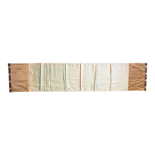 Seafoam Green & Gold Silk Paisley Table Runner
