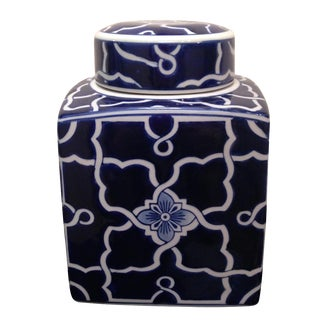 Blue & White Square Ginger Jar
