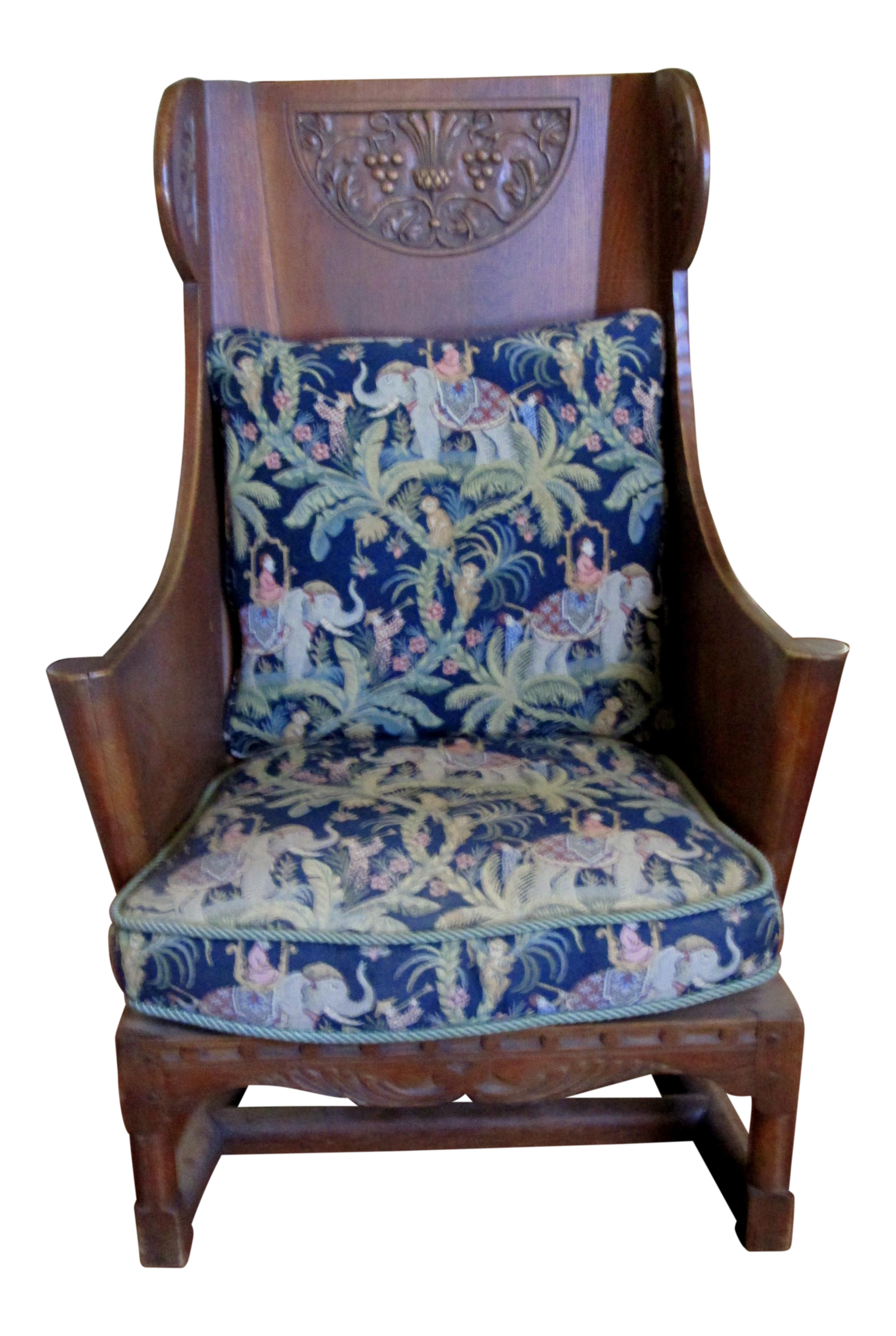 Antique Ornate Carved Wooden Wingback Chair W/ Monkey U0026 Elephant  Upholstered Cushions   Image 1
