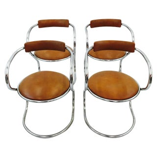 Mid Century Chrome Cantilever Chairs - Set of 4