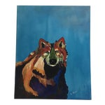 Image of L. Burris Abstract Wolf Acrylic Painting