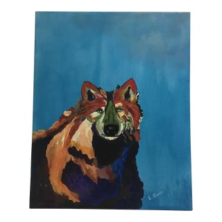 L. Burris Abstract Wolf Acrylic Painting