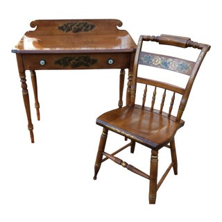 Vintage Hitchcock Painted Stencil Writing Desk and Chair