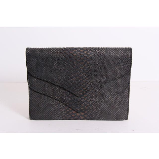 Image of  YSL Snakeskin Embossed Flap Clutch