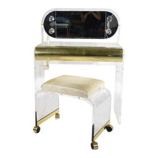 Lucite & Brass Vanity and Stool Set