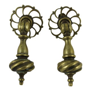 English Georgian Brass Drawer Pulls - A Pair