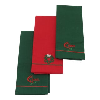 Christmas Holiday Linen Towels - Set of 3