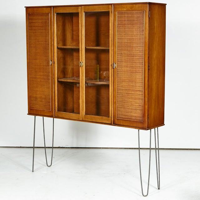 60s Drexel Caned Front Hutch on Hairpin Legs - Image 6 of 8