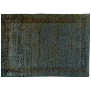 Silky Wool Overdyed Turquoise Rug - 10′ × 14′