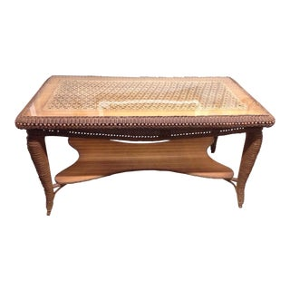 Unique Wicker Wooden Mid-Century Boho Chic Style Console Table