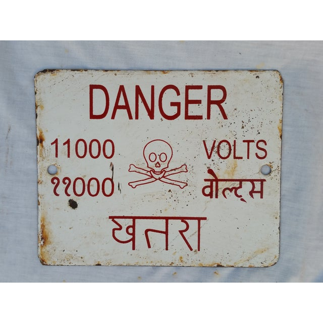 Enamel Skull Electricity Warning Sign - Image 2 of 3