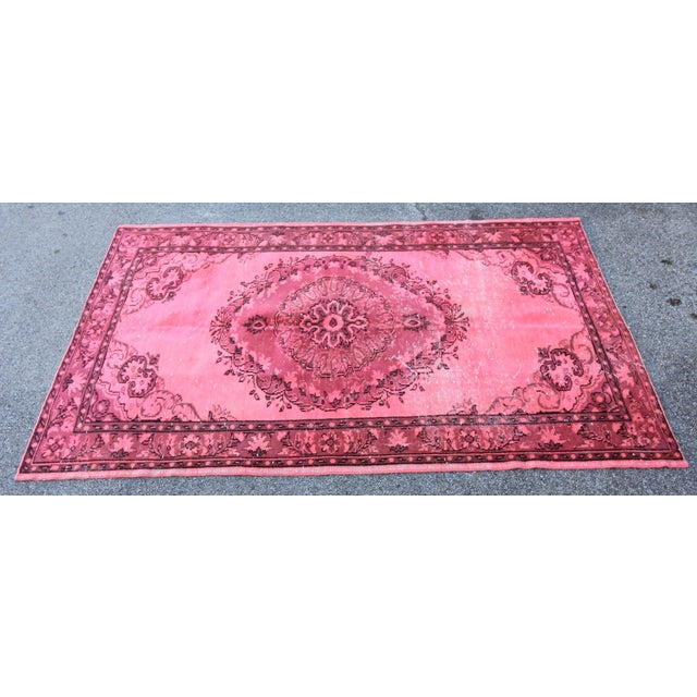 """Distressed Hot Pink Turkish Overdyed Rug - 5' X 7'10"""" - Image 2 of 5"""