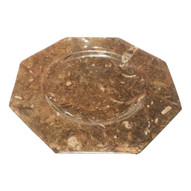 Decorative natural fossil stone octagon plate chairish for Decorative rocks for sale near me