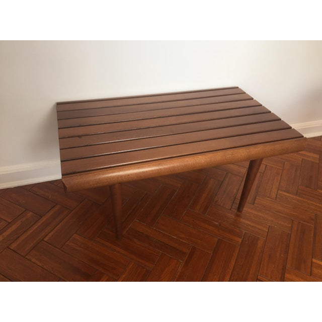 Mid-Century Modern Walnut Slat Bench - Image 4 of 7