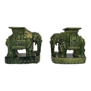 Mini Terra-Cotta Elephant Garden Seats - A Pair